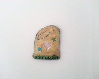 Bunny Rabbit Clay Plaque, Wall Hanging, Handmade
