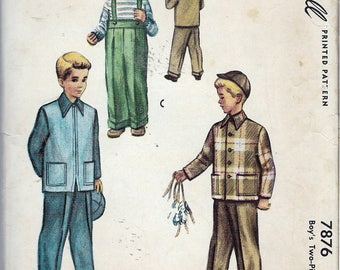 Vintage 1949 McCall 7876 Boy's Two-Piece Suit Sewing Pattern Size 6 Chest 24""