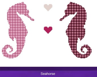 Cross Stitch Kit - Seahorse Pink Checkered - DMC Materials - Choose Your Own Colours