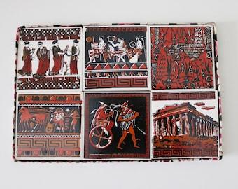 50s 60s set of 6 ceramic tile coasters souvenir of Greece depicting Ancient Greek scenes - original box