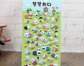 3 Sheets of Cute Meng Meng Rabbit Family 3D Puffy Stickers