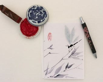 Blank Cards, Pack of 5 with Envelopes, Dragonfly and Bamboo, Any Occasion, Sumi-e, Chinese Watercolor, Print