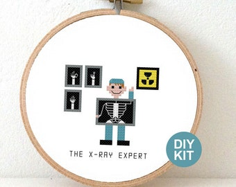 Cross Stitch Kit X-ray technician. Embroidery kit including hoop. Gift for x-ray expert. DIY New job gift.
