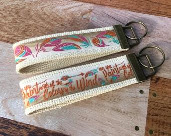 Pocahontas Key Fob Wristlet / Aztec Feather / Keychain / Key Chain / Feather