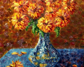"Gerbera Daisies in Blue Vase, Original, Still-life, Oil Painting on Canvas 16"" x 20"""