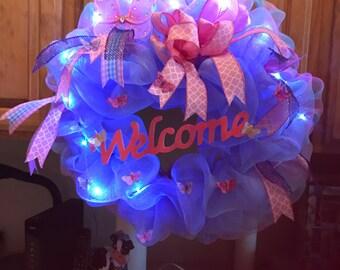Mother's Day, light up wreath, welcome decoration, deco mesh wreath, everyday wreath, spring decor, summer wreath, front door Wreath