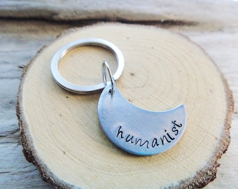 Humanist Metal Stamped Keychain- Crescent Moon Atheist Philosophy Metal Keyring- Humanism Philosophy Freethinker Gift