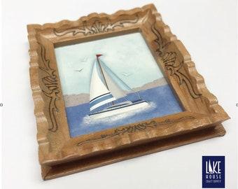 Miniature Framed Sailboat Painting. Sailboat Painting Mini. Dollhouse Artwork. Dollhouse Decor.
