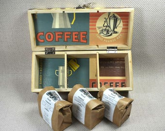 Coffee Caddy, Coffee Canister; Coffee Box, Wedding Gift, Coffee Lover Gift, Decoupaged Box, Anniversary Gift, Coffee Box Gift, Mothers Day