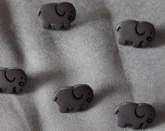 button, baby, elephant, grey, 15 mm in diam.