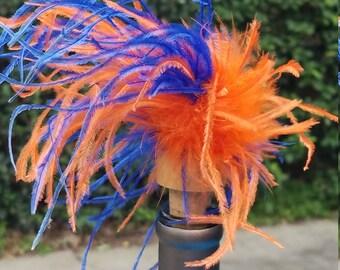 Orange/Blue Ostrich Wine Stopper