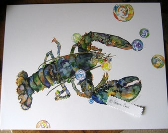 Mama Lobster 11x14  Watercolor Print