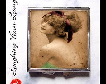 Pill Box - Vintage Women Purse Mirror - Diaper Bag Accessories - Compact Mirror - Pill Case - Bag Mirror - Makeup Mirror P&G Style-D