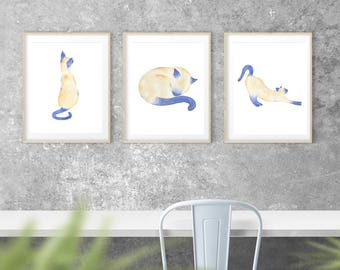 """Watercolor Siamese Cat Giclee Print (Set of 3),  8""""x10"""" cat paintings, Cat Art, Siamese Cat Art, Cat Painting, Cat Sketch, Siamese Sketches"""