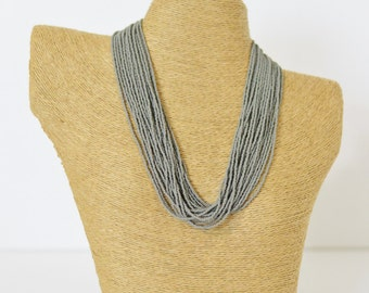 Gray necklace, statement necklace, boho necklace, multistrand necklace, beaded necklace, silver necklace, gift for her, bridesmaid necklace