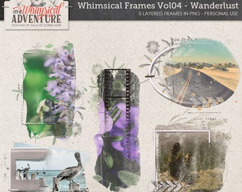Multilayered Wanderlust Digital Frames, Travel Photo Book Templates, Instant Download, Filmstrip, Painted Photo Masks, Clipping Masks