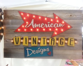 Custom Business Logo Marquee Sign - Plank Style Business or Corporate