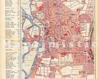 1895 City Map of Hanseatic City of Lbeck Germany in the 19th