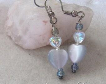 Gentle Grey Gray Valentine Heart Earrings by Cornerstoregoddess
