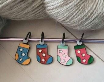 Enamel Sock Stitch Marker Set for Knitting -No Snag Stitch Markers -Knit -Knitter -Snagless