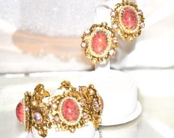 Vintage Signed Selro Corp Bracelet with Earrings Coral Matrix Set