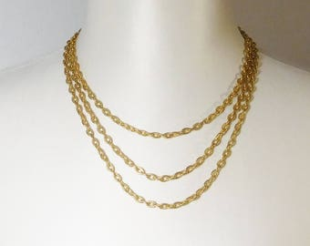 Gold Tone Layered Chain Necklace, 3 Graduated Strands, Vintage Costume Jewelry