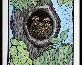 Linocut, owls, tree, forest, woodlands, nature print, bird print, green leaves, natural colors, printmaking,