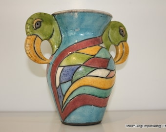 Parrot stoneware vase made in South Africa // Beach decor // bird vase