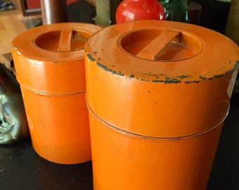 Industrial Orange Metal Containers Set of two shabby chippy