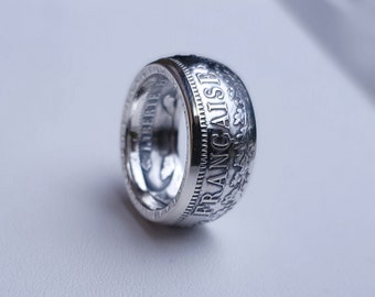Ring coin 10 francs Hercules in Silver (coin ring)