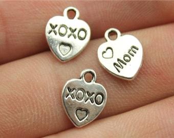 30 XOXO Mom Engraved Heart Charms, Antique Silver Tone (1A-248)