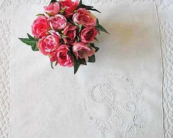 Vintage Madiera Hanky R Monogram Embroidery Wedding Keepsake Gift  Handkerchief Remembrance  Heirloom Romantic FREE SHIP US WhenRosesBloom