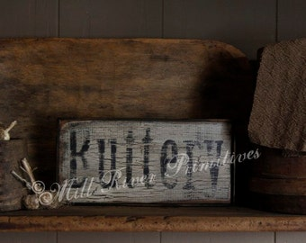 Primitive Buttery Aged Wood Sign Butt'ry