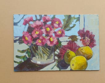 Small original oil painting/masonite panel/ still life / 21.5 x 32 cm