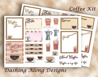 Mini Coffee Kit Planner Stickers Calendar Stickers Journal Erin Condren Happy Planner Mini Planners