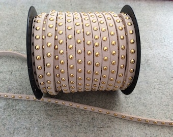 beige and gold studded faux suede cord jewelry making supplies wrap bracelet boho