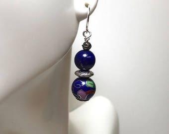Lapis and Cloisonne' Earrings