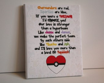 Personalised pokemon gift charmander print squirtle picture I would choose you quote pikachu keepsake valentines day anniversary