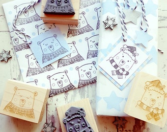 Christmas Polar Bear Rubber Stamps  - Christmas Stamper - Polar Bear Stamp - Hat Scarf -  Card Making - Jumper - Scrapbooking - Contemporary