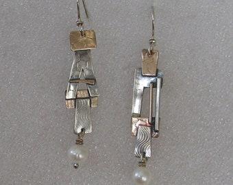 "Sterling  Goldfill Mixed Metal Kimona Earrings 2 1/4"" Long"