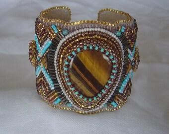 Tiger eye bead embroidery cuff
