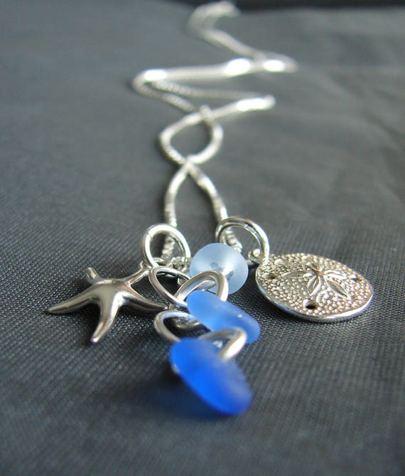 Ocean sea glass cluster necklace in ocean blues