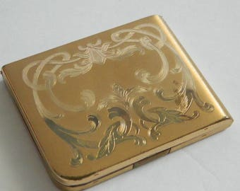 Vintage Art Nouveau Style Gold Tone Powder Compact Elgin American