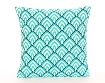 OUTDOOR Aqua Navy Throw Pillow COVERS Decorative Coastal Cushions Pillow for Couch Sofa Patio Beach Pillow Navy Aqua  White All SIZES