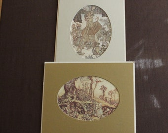 "Set of 2 Rackham 8""x10"" Fine Art Prints, Early 1900's Book Illustrations of Gnome Activities"