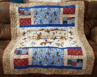 Western Cowboy Quilt, Western Quilt, Texas Quilt, Bucking Bronco Quilt