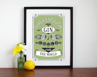 Gin Poster, Kitchen Art, Gin Print, Kitchen Print, Vintage Kitchen Art, Quote, Green, Food Art , Gin, Gift for Mom, Art Print, Foodie