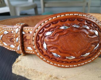 Beautiful Western Style Leather Belt. Petite, woman, Cowboy, Cowgirl, show, contest, riding, competition, outfit, apparel.  FREE SHIPPING