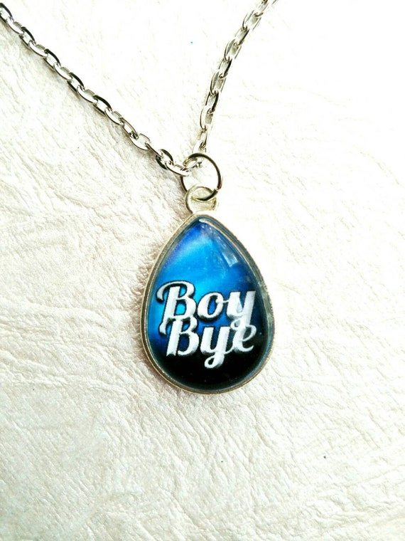 BOY BYE~ 18 x 25 mm Teardrop Animal Lover BREAKUP sassy dgaf message glass cabochon with a silver setting.