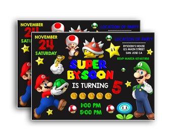 Super Mario Invitation,uper Mario Printable Invitation, Mario Digital File, Super Mario Birthday Party Invitation, Luigi, Yoshi, Mario